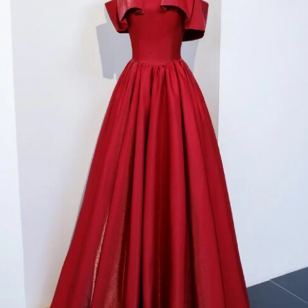 Red Satin Long Party Dress, A-Line Formal Dress 2021, Evening Dress