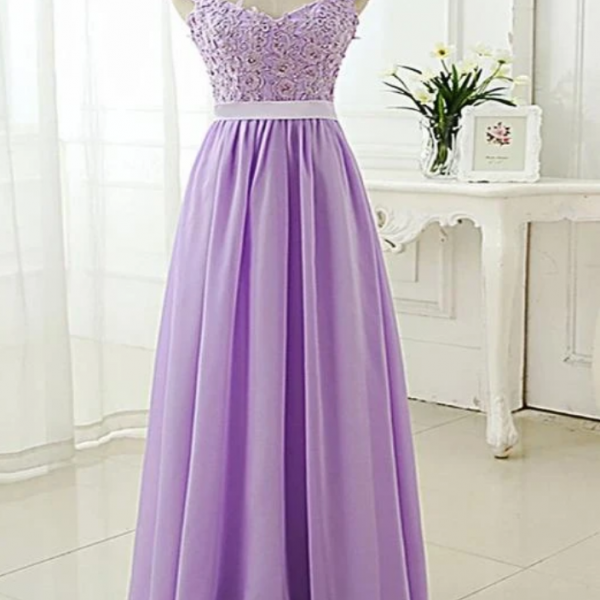 Chiffon V Neck Long Prom Dress, Long Bridesmaid Dress