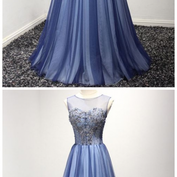 Unique Long Tulle Formal Dress With Sparkly Beading online