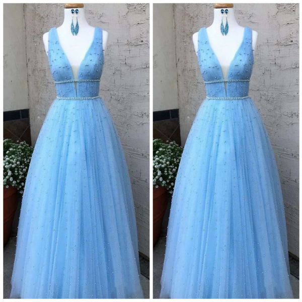 V Neck Beaded Long Prom Dresses Pearls Tulle Cute Prom Dress