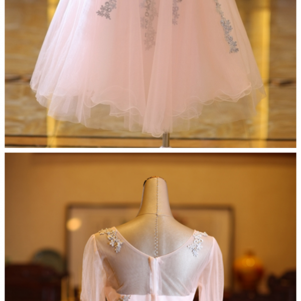 Beautiful Long Sleeves Tulle Short Homecoming Dress,Prom Dress