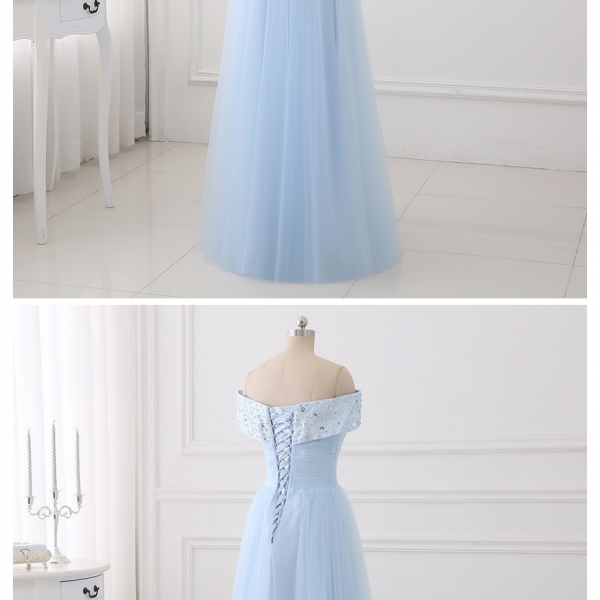 Tulle Beaded Off Shoulder Party Dress, A-line Bridesmaid Dress