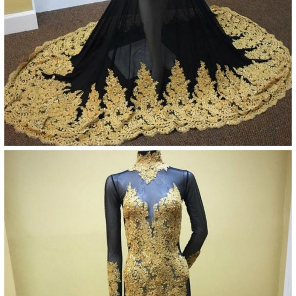 Long Sleeves Black Mermaid Prom Dress with Gold Appliques