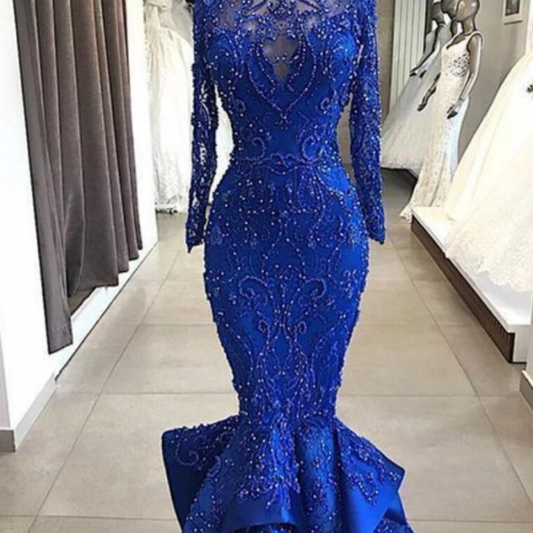 Sexy Beading Mermaid Long Evening Dress Illusion Appliques Long Sleeves Tulle Formal Party Dress