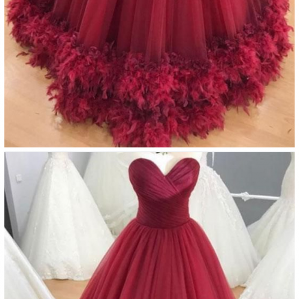 Sweetheart burgundy tulle long formal prom dress, evening dress