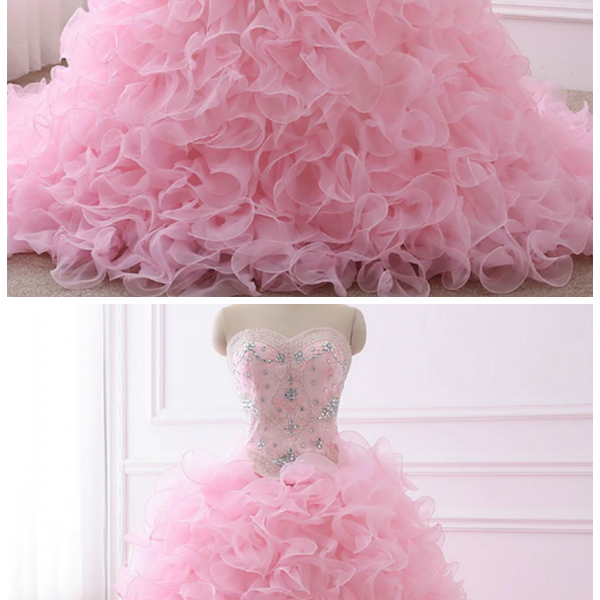 Quinceanera Dresses Ball Gown Sweetheart Organza Crystals Beaded Ruffles
