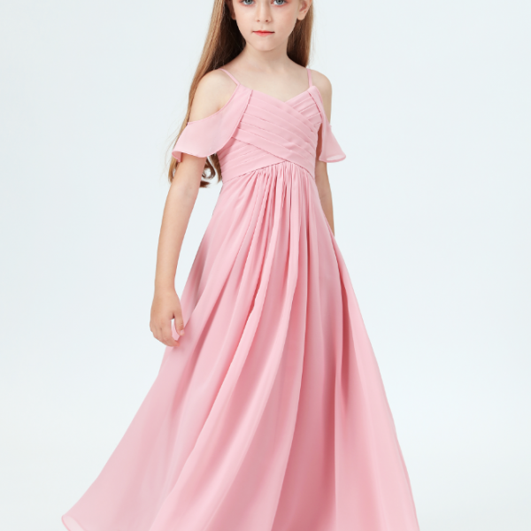 flower girl dresses, Little Bridesmaid Party Off-Shoulder Ruffled Sleeves Dress Girl Wedding Banquet Kids Birthday Party Dresses For Girls Costumels