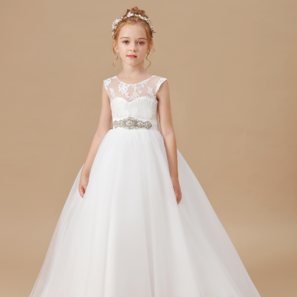 flower girl dresses, Elegant New Year Princess Children Party Dress Wedding Gown Kids Dresses for Girls Birthday Party Dress 2-14T