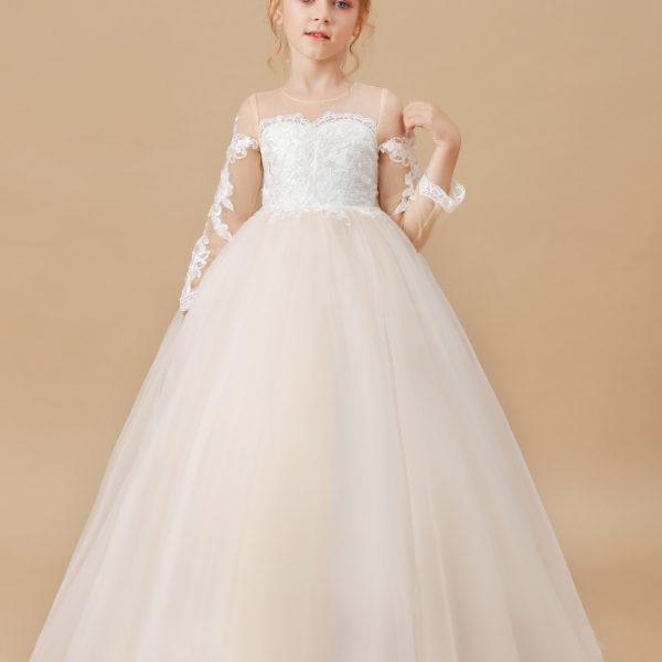 flower girl dresses, Girls Banquet Dress Baby Kids Clothes White Wedding Children Clothing Invisible Neckline Girl Applique Long Sleeve Dresses
