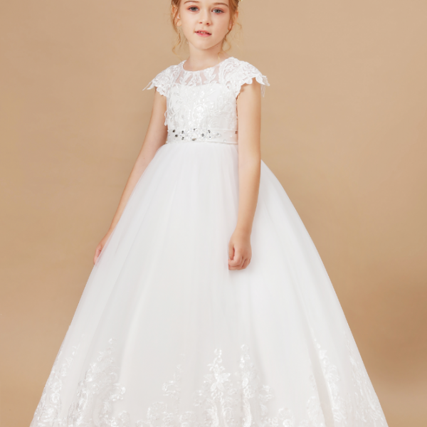flower girl dresses,Sleeveless Baby Kids Clothes Children Kids Clothing Appliques Kids Girl Wedding Evening Gowns Party Dresses