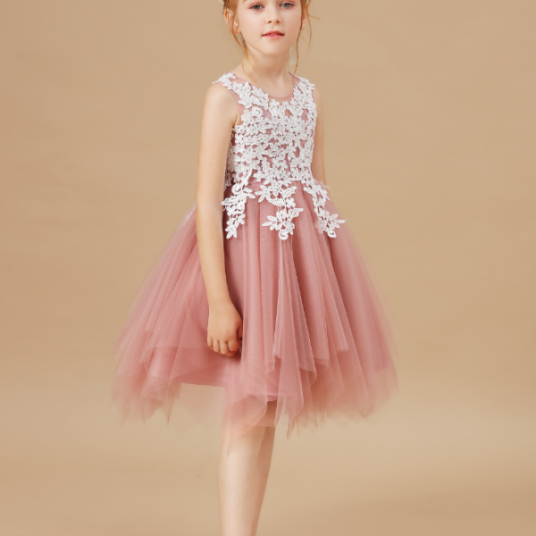 flower girl dresses,Sleeveless Baby Kids Clothes Children Kids Clothing Appliques Girl Wedding Evening Gowns Party Dresses