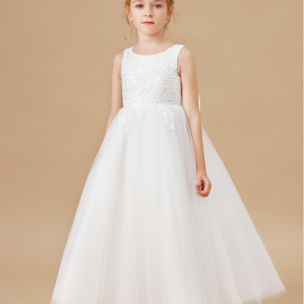 flower girl dresses,Elegant Flower Girl Dresses Applique Sleeveless Cascading Kids Pageant Gowns For Weddings First Communion Dresses