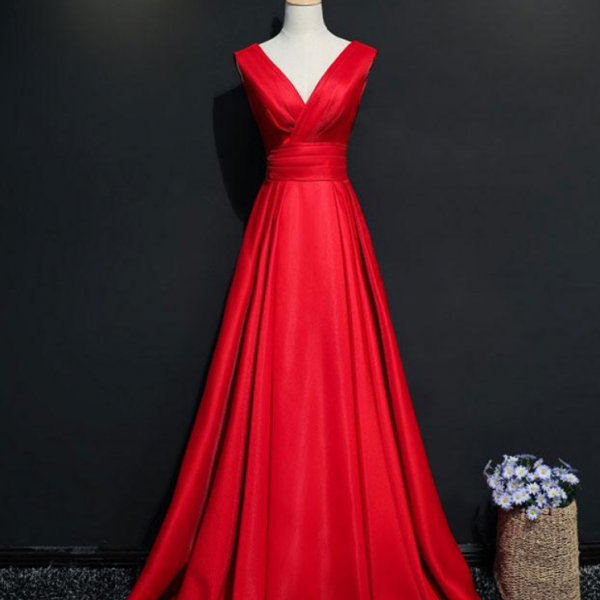 Simple red v neck long prom dress, red evening dress