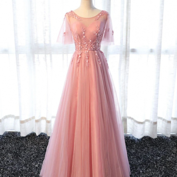 A line tulle lace long prom dress, lace evening dress
