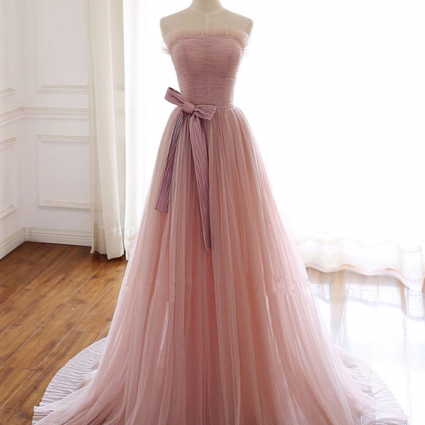 Simple tulle long prom dress tulle formal dress