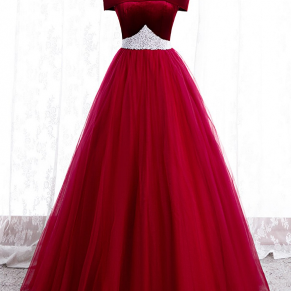 Burgundy Tulle Off the Shoulder Prom Dress With Pearls