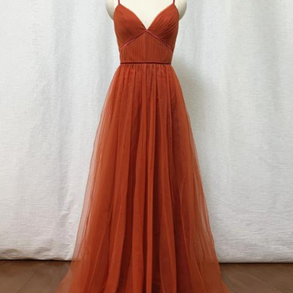 Tulle Bridesmaid Dress 2021 Spaghetti Straps Boho