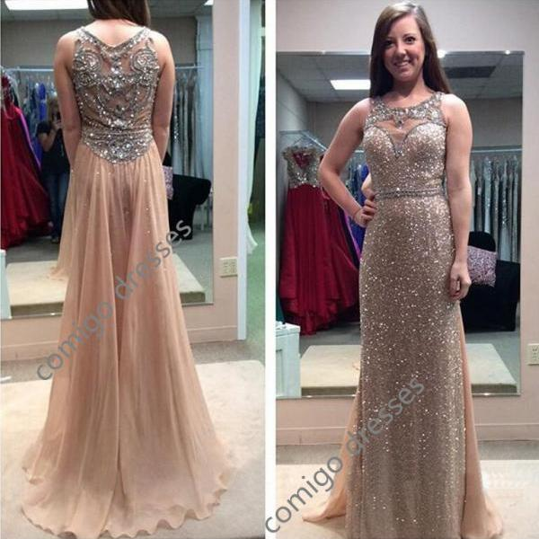 Scoop Neck Long Chiffon Sequined Lace Prom Dresses Carpet Dresses Chiffon Prom Dress
