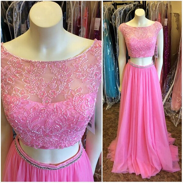 Lace Beaded Prom Dresses,Cap Sleeves Evening Dresses,Long Party Dresses,Lace Prom Dress,Two Pieces Light Plum Prom Dresses