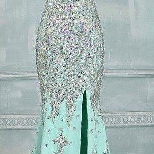 Real Made Prom Dresses, Floor-Length Prom Dresses, Mint Green Prom Dresses Sequin Shiny Front Split Prom Dresses Charming Prom Dresses Evening Dresses Prom Dresses On Sale