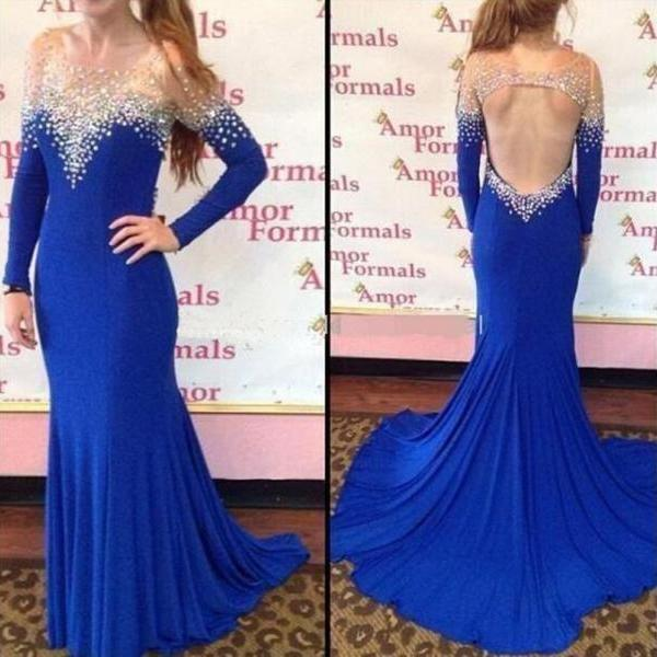 Royal Blue Evening Dresses Sexy Mermaid Prom Dresses