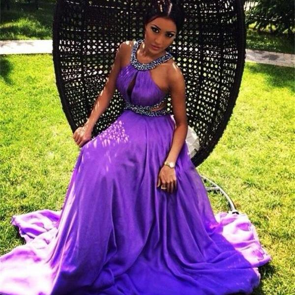 Purple Prom Dresses chiffon evening dresses party dresses