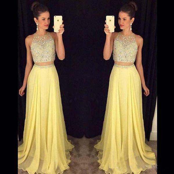 Custom Made Prom Dress,2 Pieces Prom-Dress,O-Neck Prom-Dress,Beads Sequins Prom-Dress,Floor-Length Prom-Dress,Yellow Prom-Dress,Party Gowns