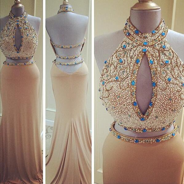 Sexy Two Pieces High Neck Backless Long Evening Dresses 2016 Beaded Mermaid Chiffon Prom Gowns Champagne Formal Dress