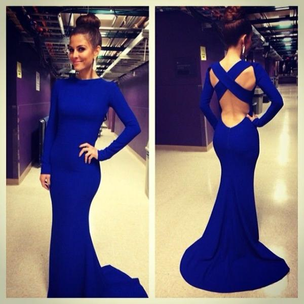 Top Selling Long Sleeves Open Back Royal Blue Mermaid Prom Dress High Neck Trumpet Long Sexy Prom Dresses Sweep Train Evening Dress Prom Graduation Dress Bridesmaid Dresses Celebrity Dress