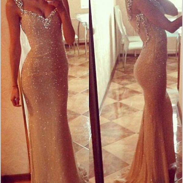 Romantic Sheath Sweetheart Spaghetti Strap Champagne Long Sequins And Crystal Backless Prom Dress,Evening Dresses,Party Dresses