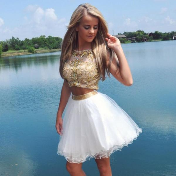 Two Pieces Gold Beads Prom Dresses 2016 Scoop Neckline White Skirt Tulle Fashion Open Back Homecoming Dress Short Cocktail Gowns