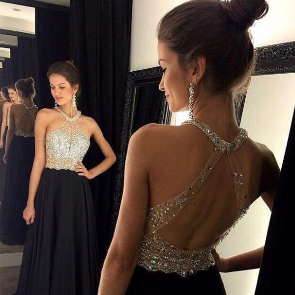 Sexy Beaded Prom Dresses,Open Back Black Evening Party Dresses,Halter Neckline Formal Evening Party Dresses