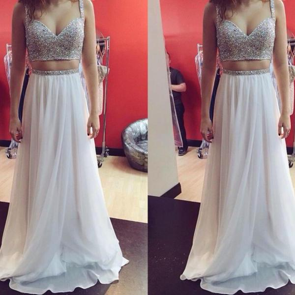 Two Pieces Prom Dresses,Beaded Straps Evening Dresses,Two Pieces Beaded Occasion Formal Party Dresses