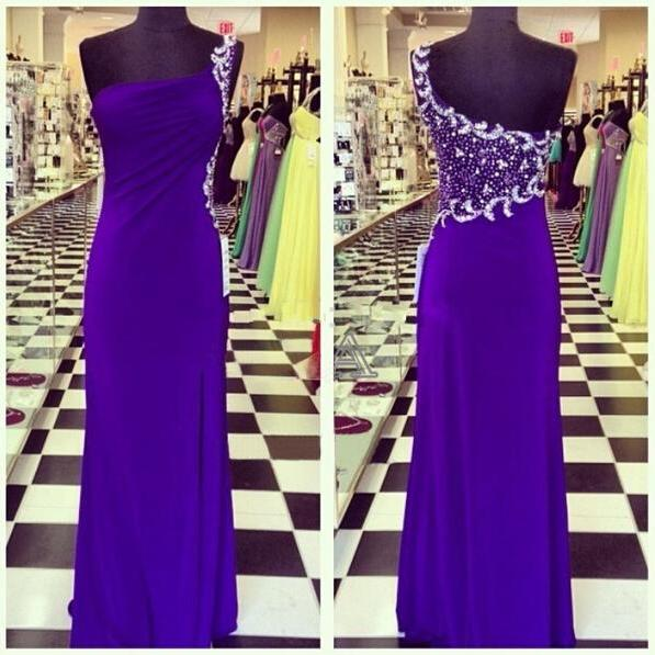 2017 Prom Gown,Royal Blue Prom Dresses,One Shoulder Evening Gowns,Simple Formal Dresses,One Shoulder Prom Dresses