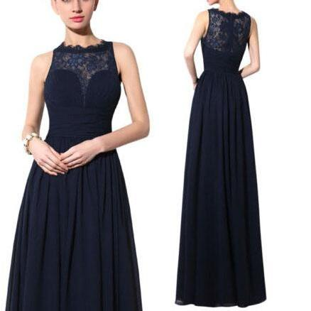 Lace Bridesmaid Dress,Long Bridesmaid Gown,Navy Blue Bridesmaid Gowns,Simple Bridesmaid Dresses,Cheap Bridesmaid Gowns,Vintage Brides Dress,Dark Navy Satin Bridesmaid Gowns