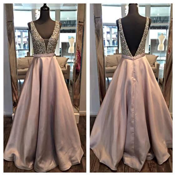 Charming Prom Dress,V-Neck Prom Dress,Beading Prom Dress,Satin Prom Dress,A-Line Evening Dress