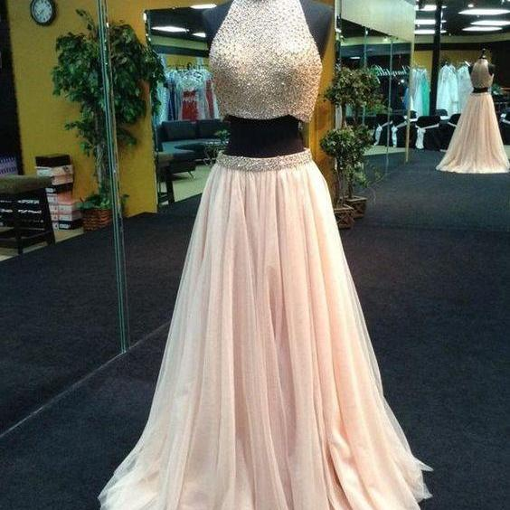 Pearl Pink Halter Two Piece Beaded Long Prom Dresses ,Evening Dress,Formal Dress ,Homecoming Dress