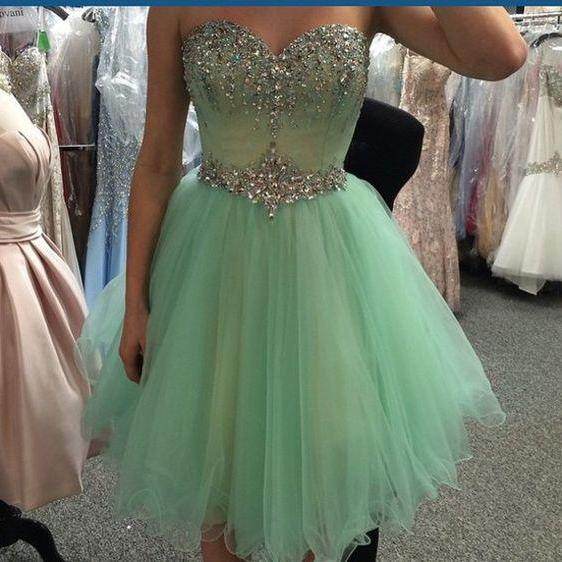 Cute Graduation Dress,Short Prom Dress,Sweetheart Homecoming Dress,Beading Prom Dress, Green Homecoming Dresses, Short Homecoming Dress, Short/Mini Party Dresses