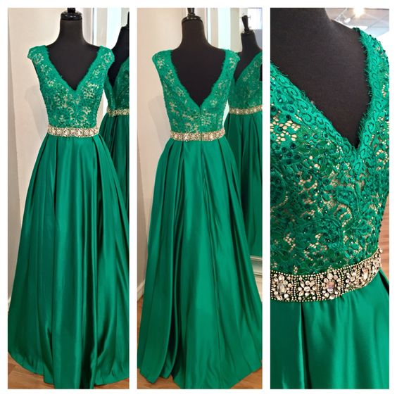 Elegant Formal Dress Green, Sexy Prom Dresses 2016, Prom Dress Lace Ball Gown with Satin Full Skirt, Green Prom Dresses, Sexy Black Prom Dress, Long Prom Dress, Latest Gowns forTeenagers of 2016