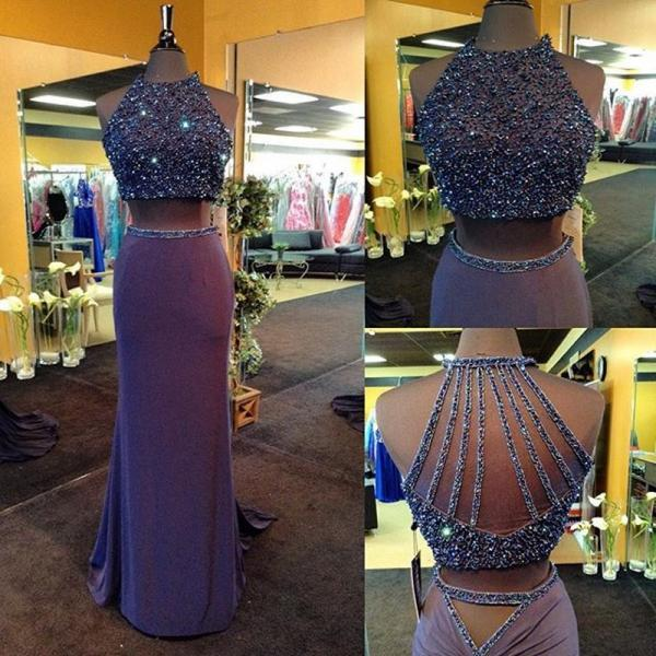 Sparkly Crop Top Two Piece Prom Dresses 2016 New Arrival Jersey Dress Fashionable Long Mermaid Vestidos De Fiesta Party Dress
