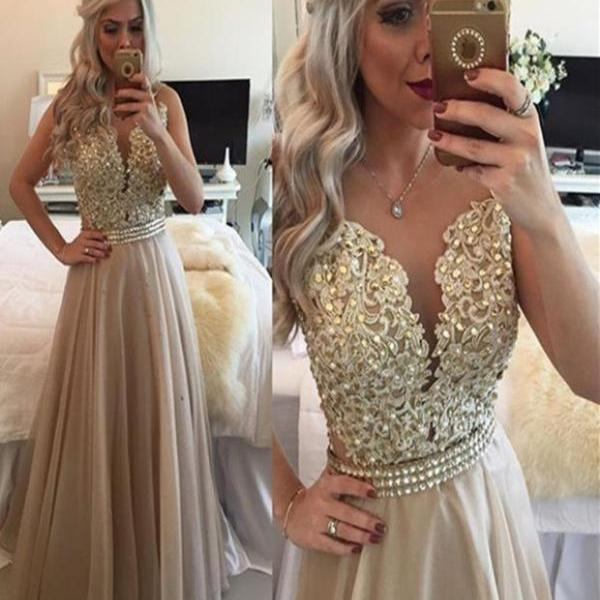 A Line Round Neck Sleeveless Long Champagne Prom Dress, Champagne Formal Dress evening dresses party dresses
