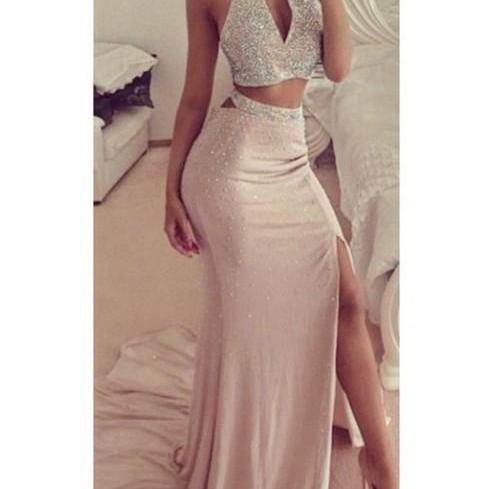 Charming Prom Dress,Beading Prom Dress,Mermaid Prom Dress,Halter Prom Dress,Sexy Prom Dress