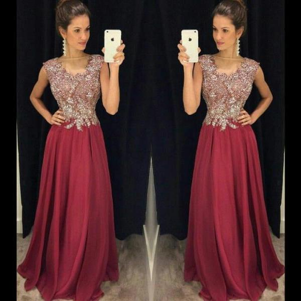 Burgundy Prom Dresses,Wine Red Prom Dress,2016 Prom Dress,Wine Red Prom Dresses,Slit Formal Gown,Simple Evening Gowns,Modest Party Dress,Chiffon Prom Gown For Teens