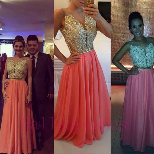 Coral Prom Dresses,Charming Evening Dress,Coral Prom Gowns,Lace Prom Dresses,2016 New Prom Gowns,Gold Evening Gown,Backless Party Dresses