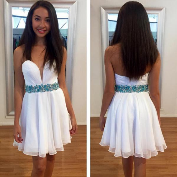 White Homecoming Dress,Sparkle Homecoming Dresses,Glitter Homecoming Gowns,Short Prom Gown,Sweet 16 Dress,Blue Beading Homecoming Dresses,Cocktail Dress,Fitted Formal Dress