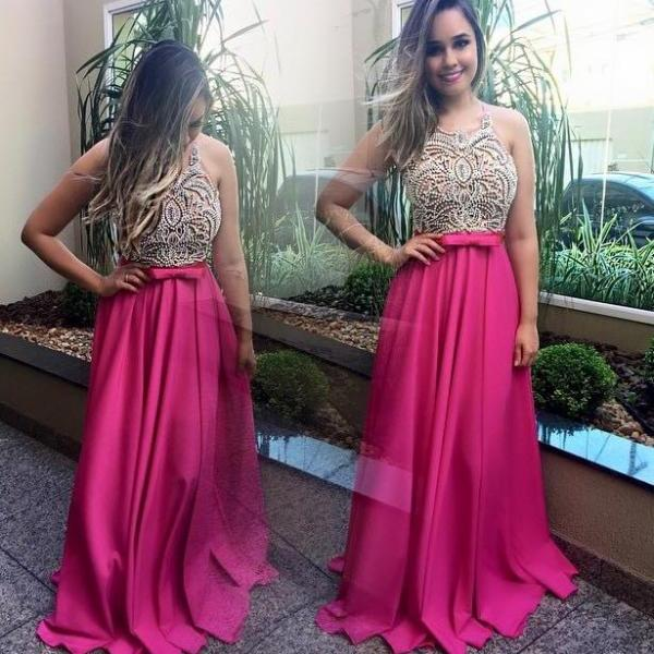 Halter Modern Beadings Fuchsia Satin Prom Dresses 2017 Sleeveless A-line Long Party Evening Gowns