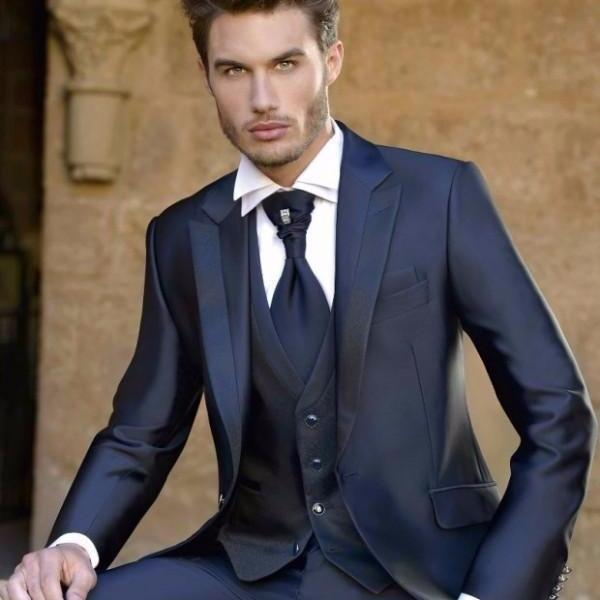 Fashion Mens Dinner Party Prom Navy Blue Suits Groom Tuxedos Groomsmen Wedding Blazer Suits (Jacket+Pants+Vest)