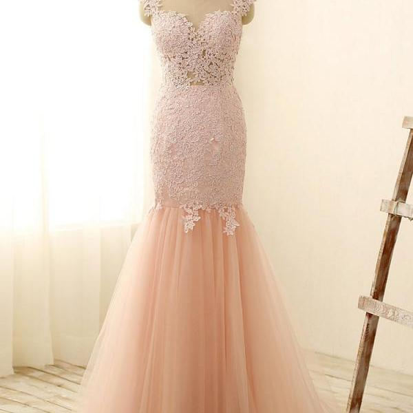 Modest Prom Dresses,Sexy New Prom Dress,Gorgeous Pink Sexy Mermaid Prom Dresses Tulle Lace Applique Long Party Gowns