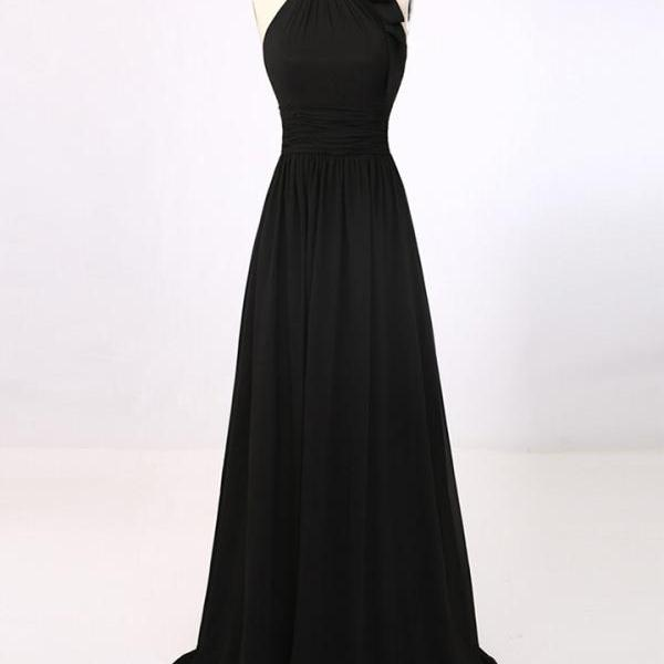 Modest Prom Dresses,Sexy New Prom Dress,New Arrival A-Line Black Halter Summer Party Dresses Simple Chiffon Long Prom Dress