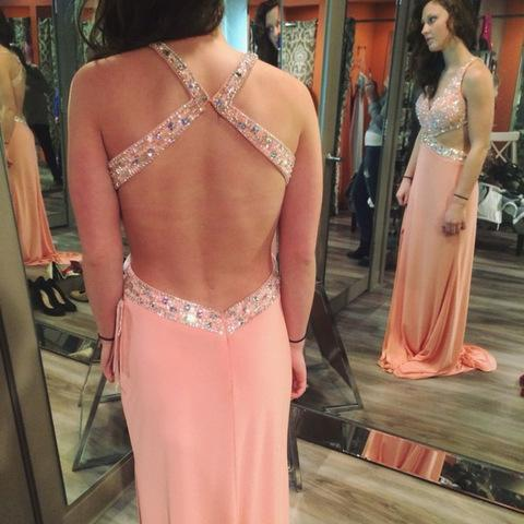 Backless Prom Dress,Pink Prom Dress,Beaded Prom Dress,Fashion Prom Dress,Sexy Party Dress, New Style Evening Dress